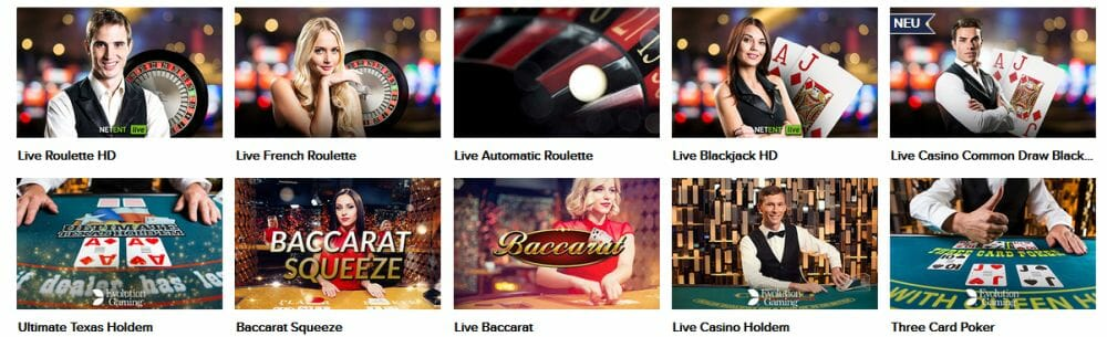 Spiele im Live Casino