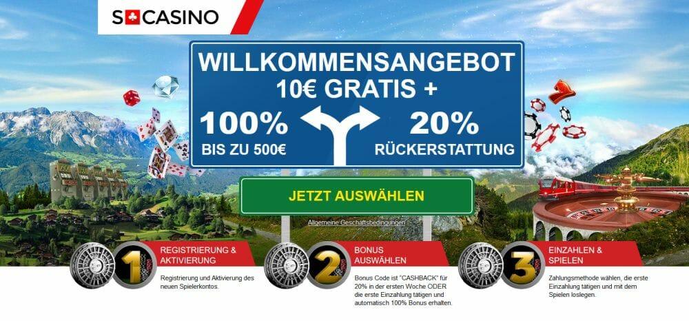Swiss Casino Bonus ohne Einzalung