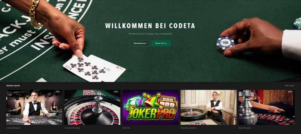 Codeta Casino Startseite Vorschau