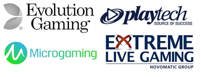 Logos von Evolution Gaming, PlayTech, Microgaming und Extreme Live Gaming (Novomatic Group)