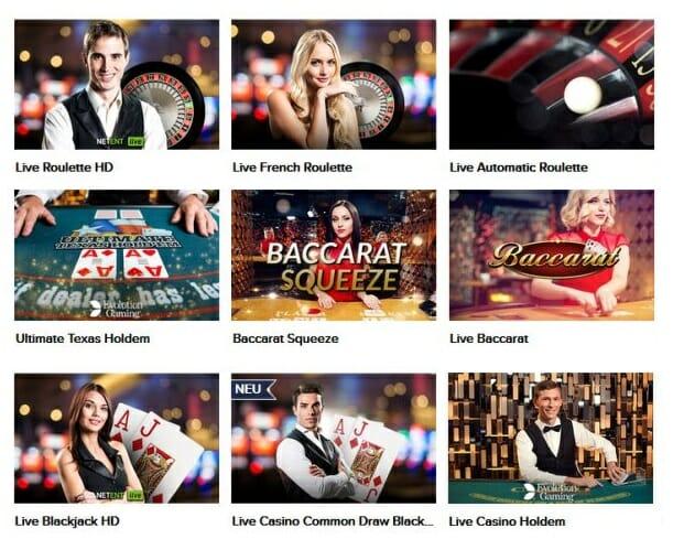 Zu sehen sind Live Casino Spiele