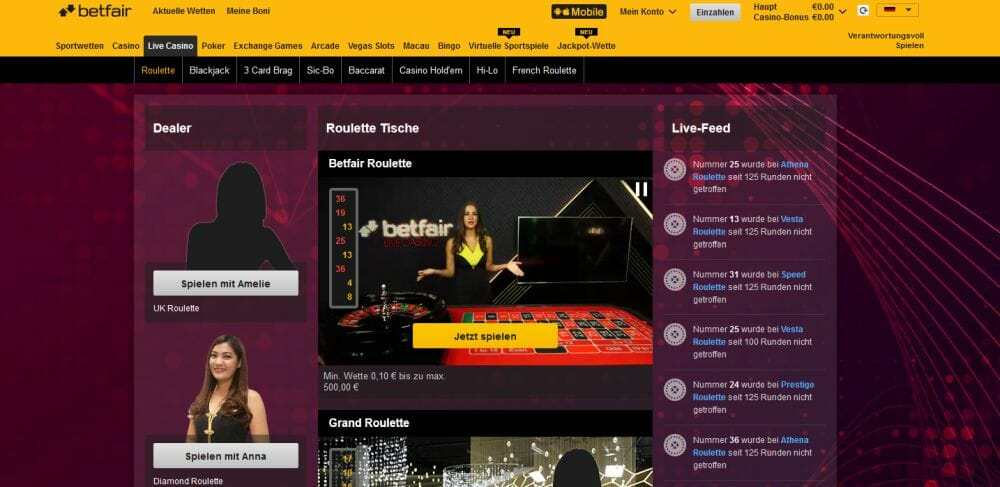 Betfair Live Casino Vorschau