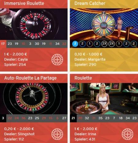 Wunderino Casino Live Spiele