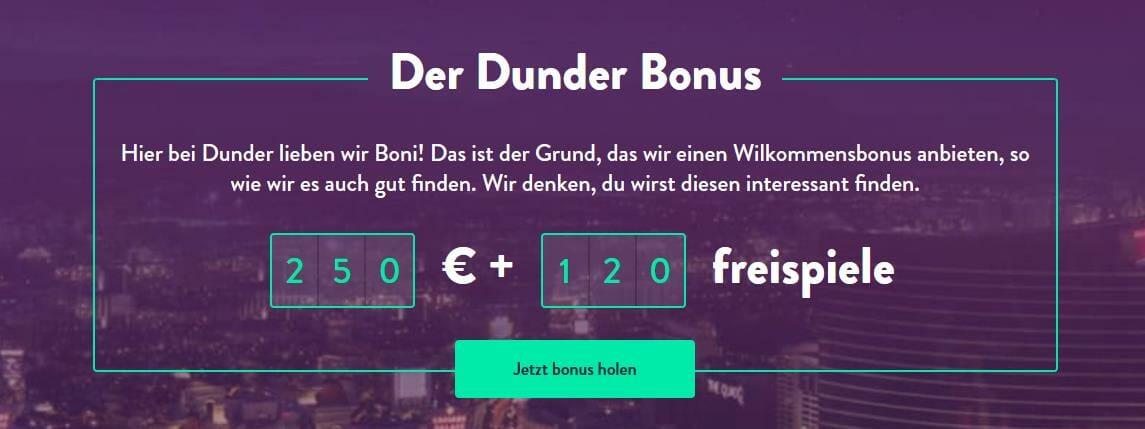 Dunder Bonus holen