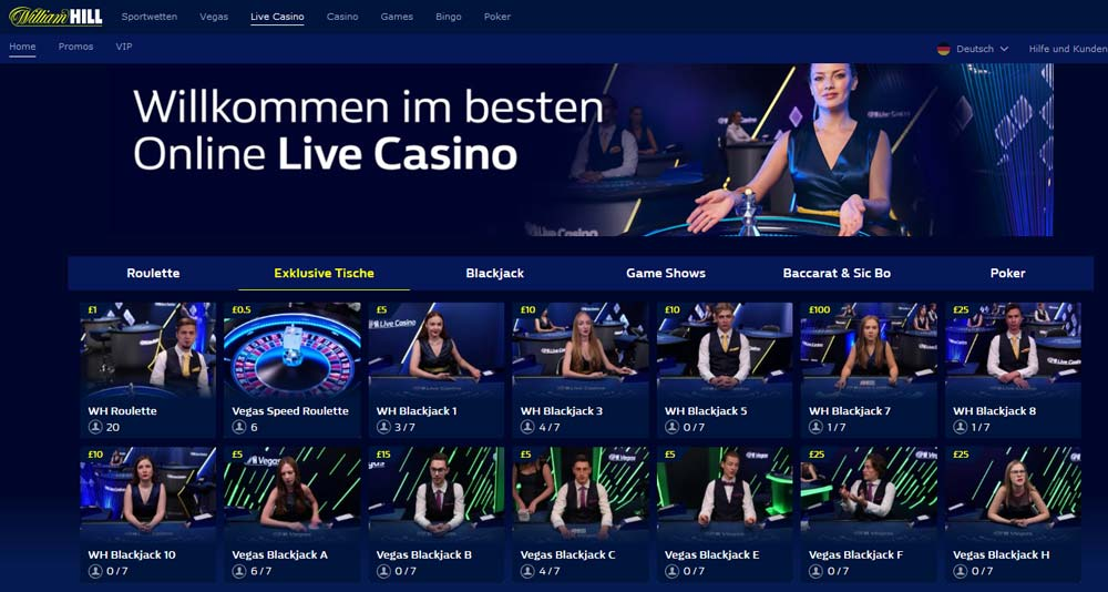 William Hill Livecasino Vorschau