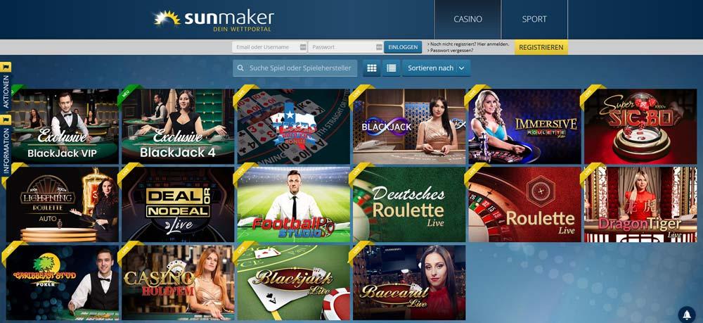 Sunmaker Live Casino Vorschau