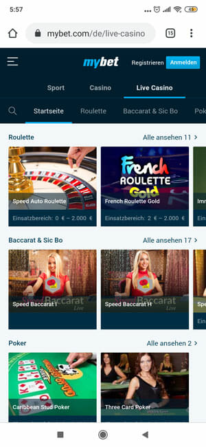 MyBet Livecasino mobile
